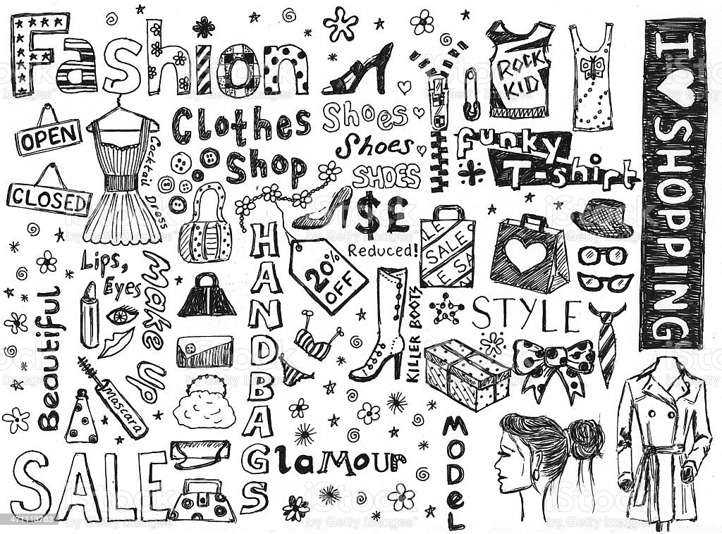 Fashion doodles stock photo