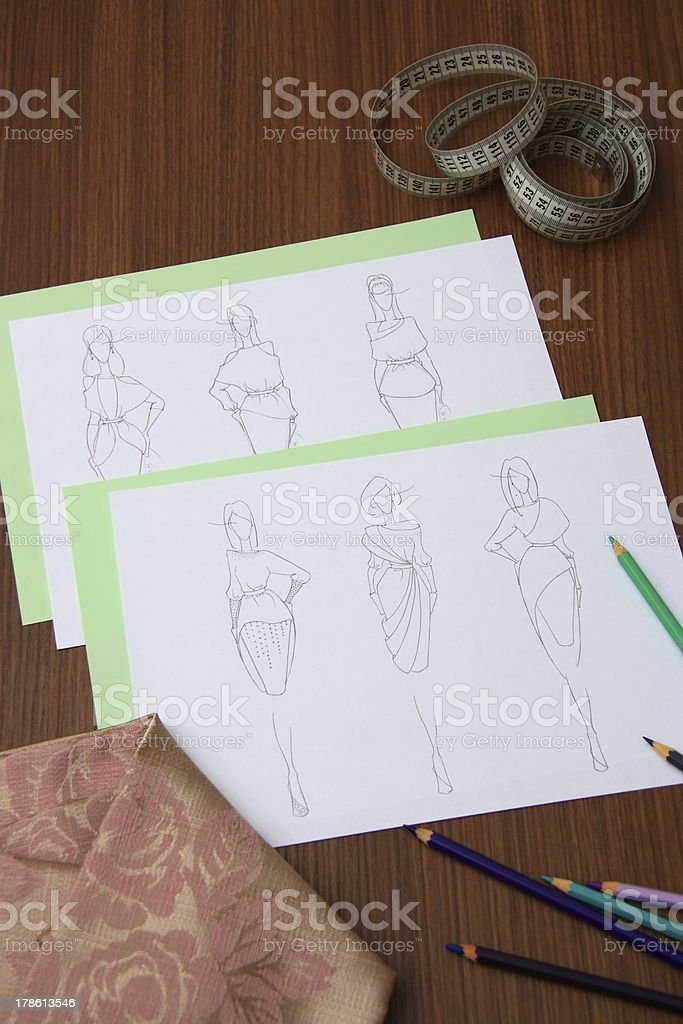 fashion drawings royalty-free stock photo