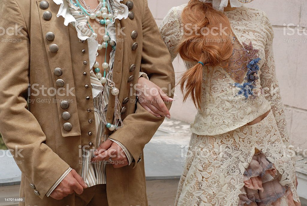 Fashion dressed couple fragment royalty-free stock photo