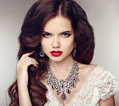 Fashion earrings and Necklace. Beauty girl portrait. Hairstyle.