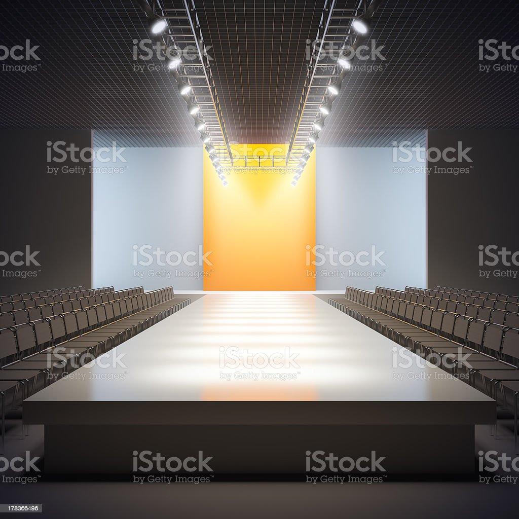 Fashion empty runway. stock photo