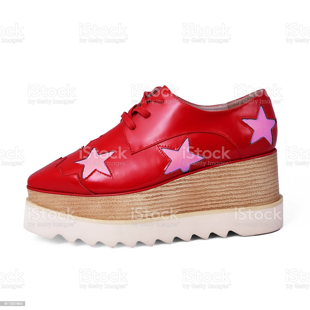 fashion female red shoes stock photo