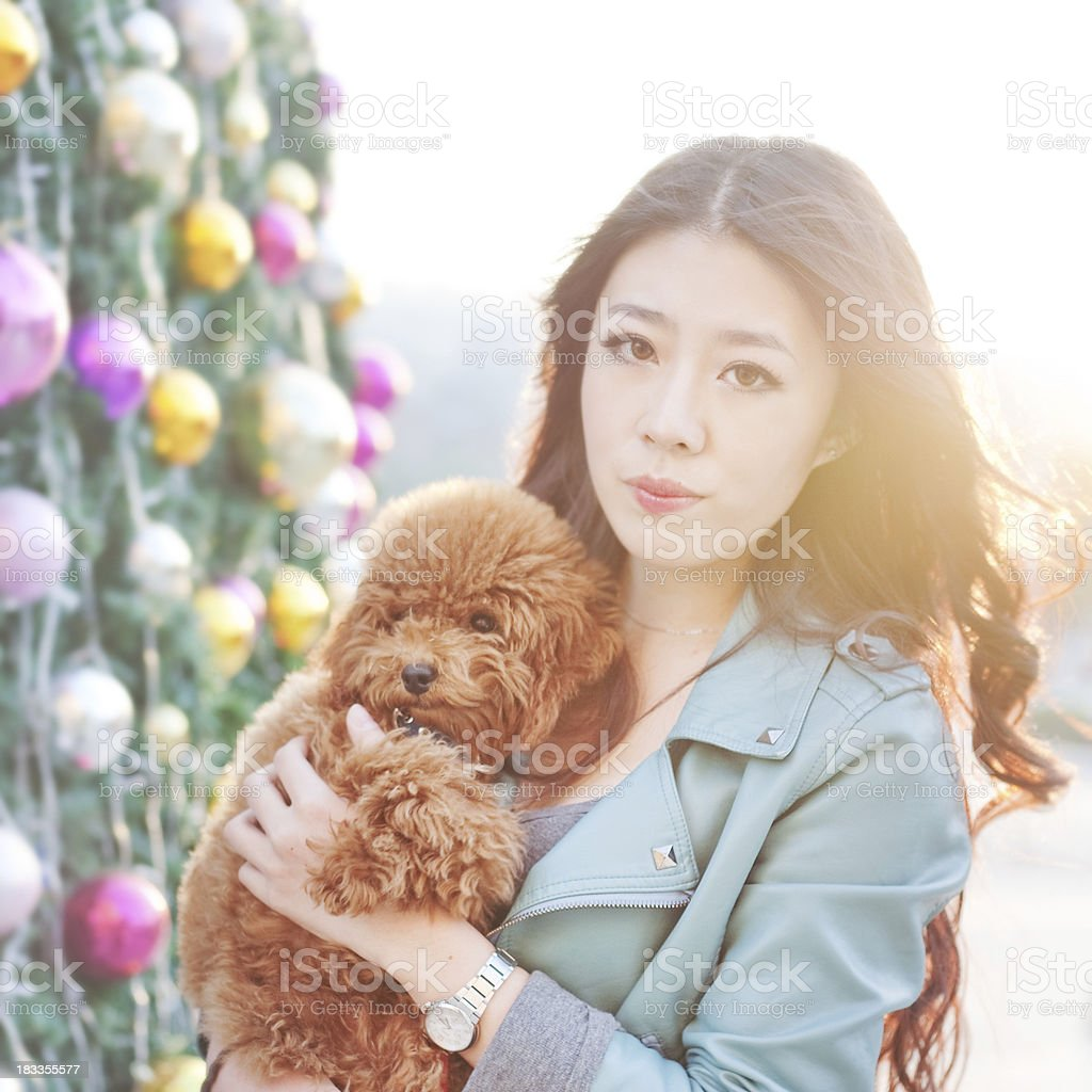 Fashion girl and her toy poodle royalty-free stock photo