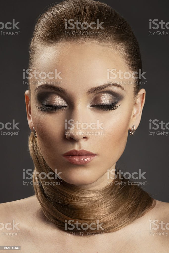 Fashion Girl. Beautiful Makeup and Healthy Hair royalty-free stock photo