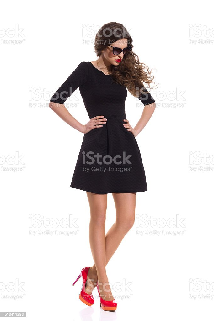 Fashion Girl In Black Mini Dress stock photo