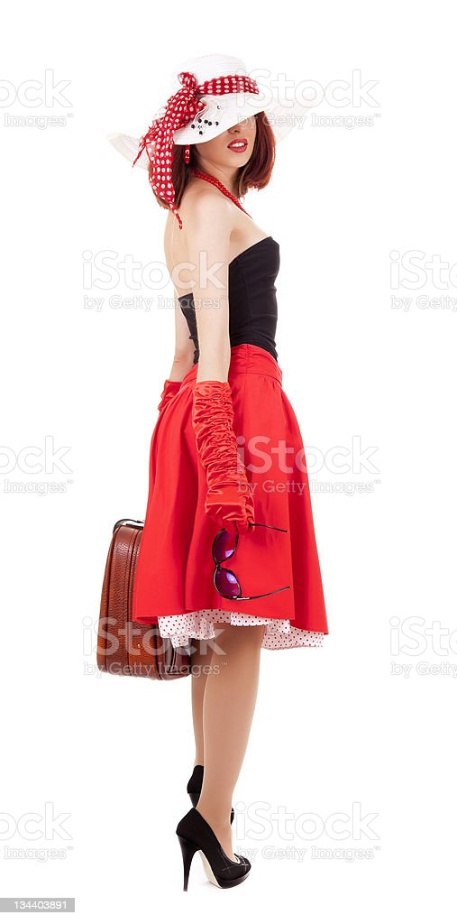 Fashion girl in retro style with suitcase stock photo