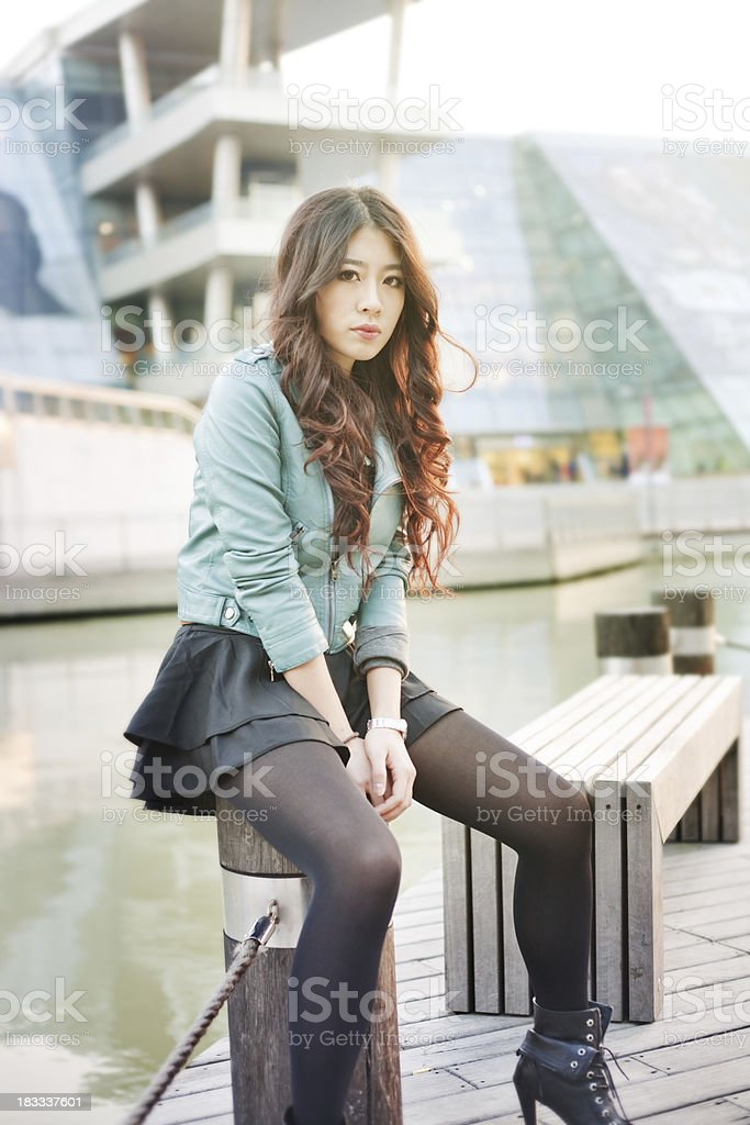 Fashion girl in the street royalty-free stock photo
