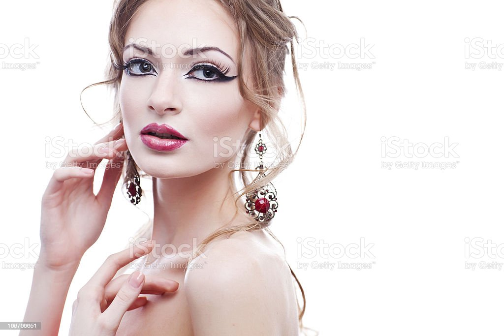 Fashion girl portrait. Red glossy lips. royalty-free stock photo