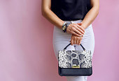 Fashion girl with fashion snake leather clutch and bracelet accessory