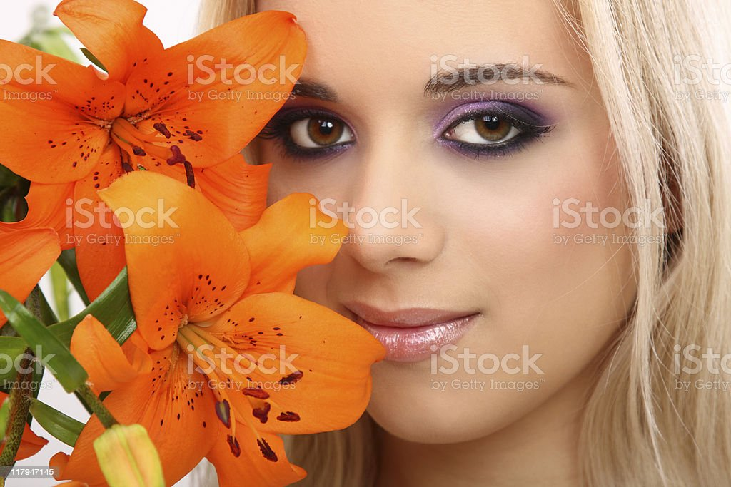 fashion girl with flower stock photo