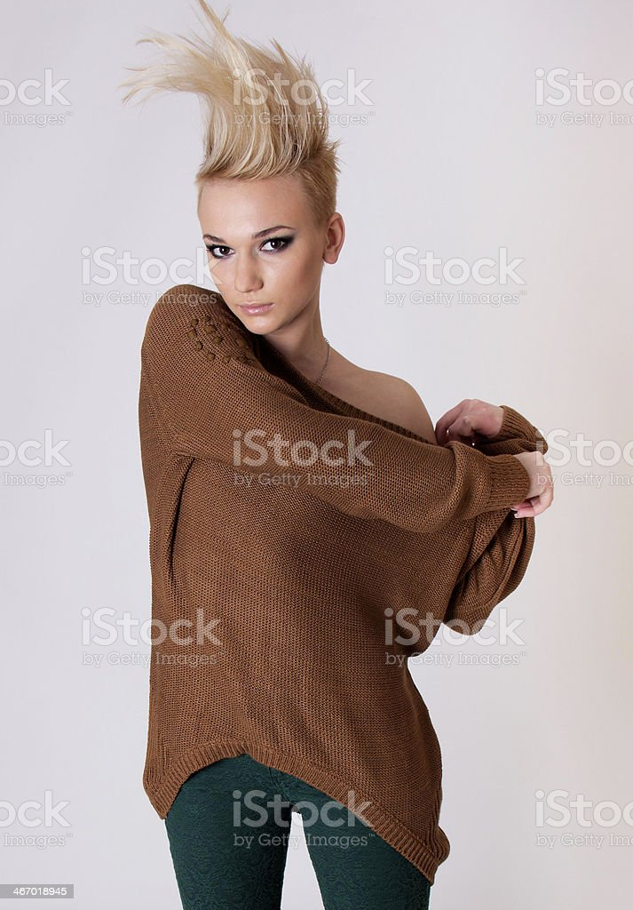 Fashion glamour girl with creative hairstyle. stock photo