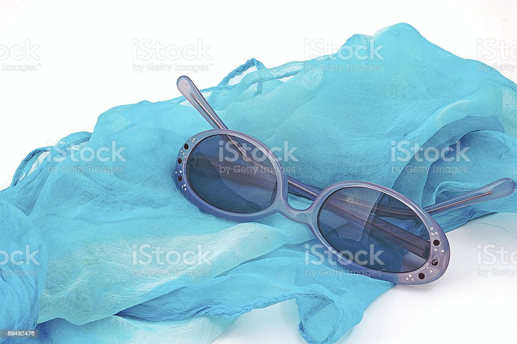 fashion glasses and blue meadow stock photo