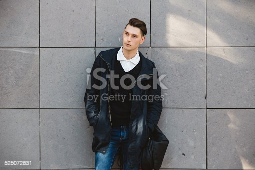 Fashion Hipster Male Model Posing Outdoor Stock Photo 525072831