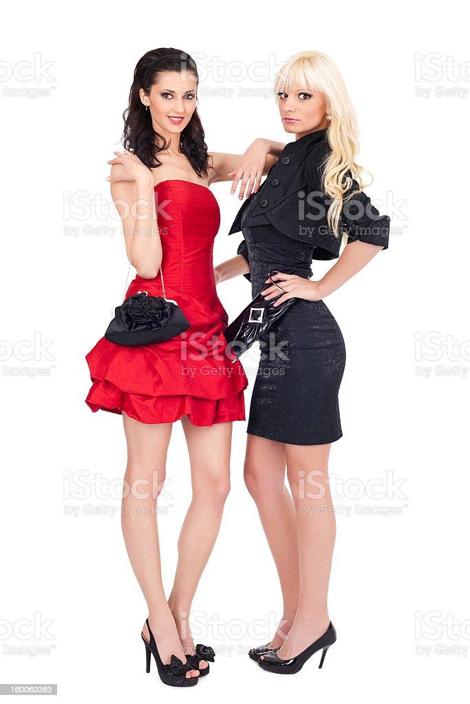 fashion image of two beautiful women royalty-free stock photo