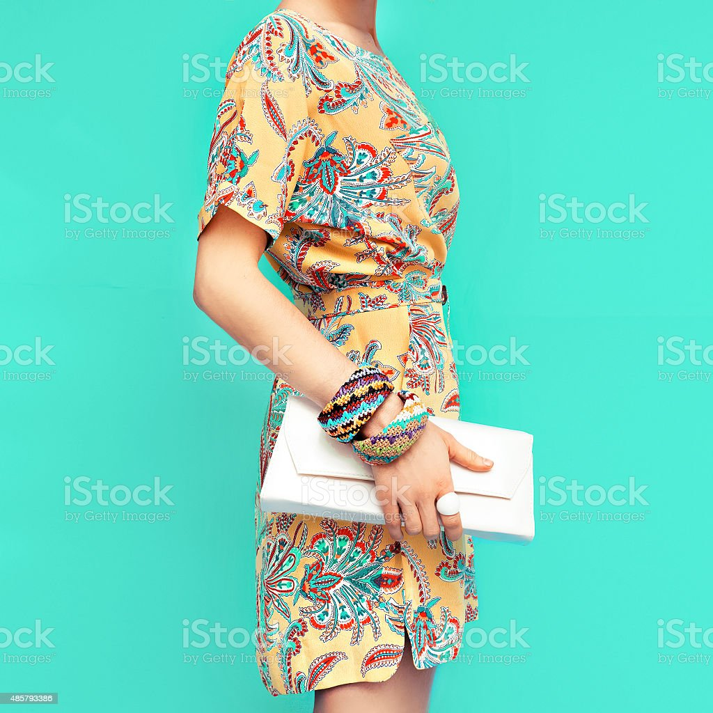 Fashion lady. Beach style. Clothing for vacations. Dress with st stock photo