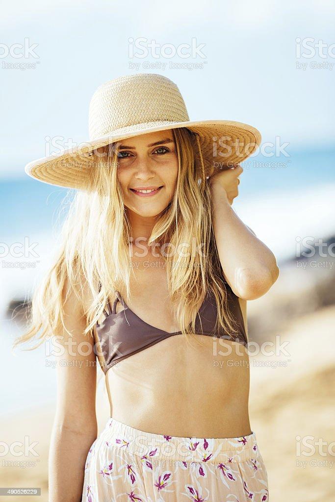 Fashion lifestyle, Portrait of the beautiful blond girl stock photo