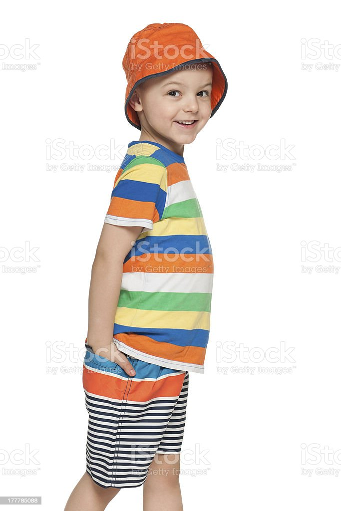 Fashion little boy is walking royalty-free stock photo