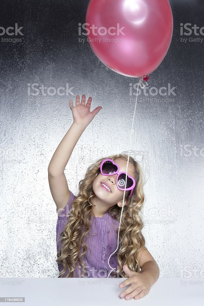 fashion little party girl red balloon heart sunglasses royalty-free stock photo