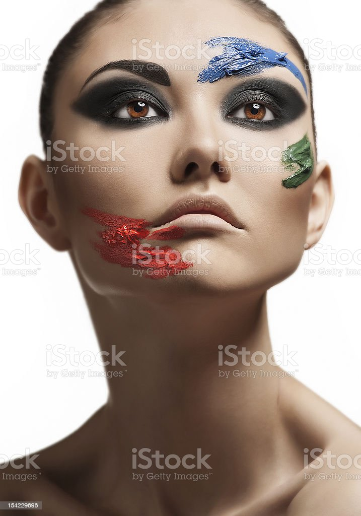 Fashion make-up with face art stock photo