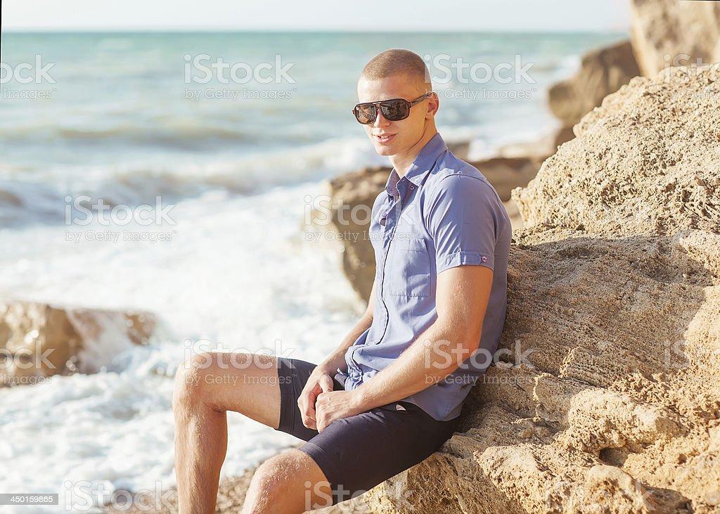 fashion man on the beach royalty-free stock photo