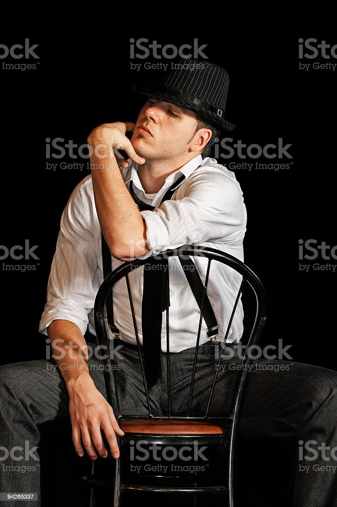 Fashion man with hat stock photo