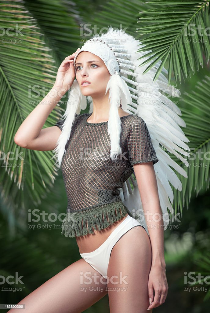 Fashion meets Culture, Indian Topknot stock photo
