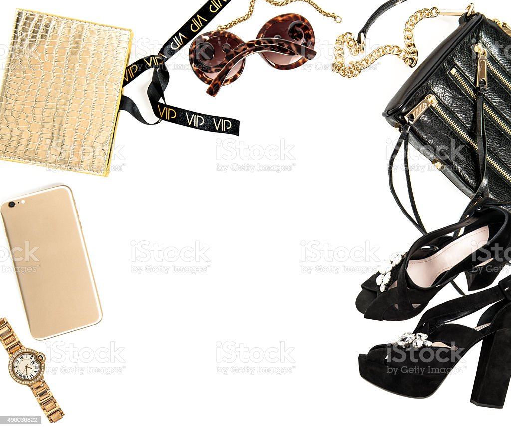 Fashion mock up with business lady accessories. Feminine shopping objects stock photo