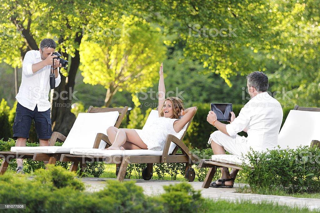 fashion model at shooting royalty-free stock photo