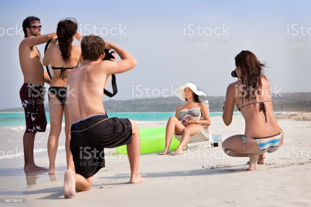 Fashion model beach photo shoot royalty-free stock photo