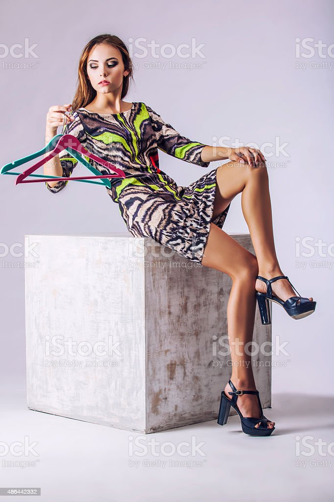 Fashion model beautiful woman Studio photography stock photo