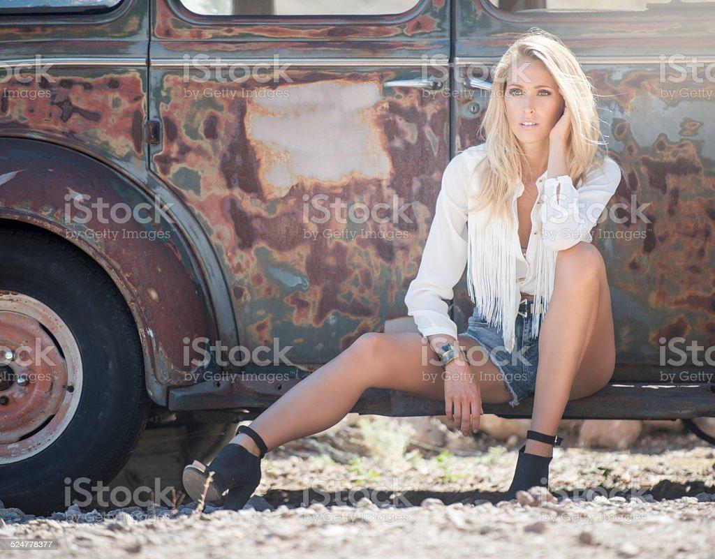Fashion Model, Beauty with Oldtimer stock photo