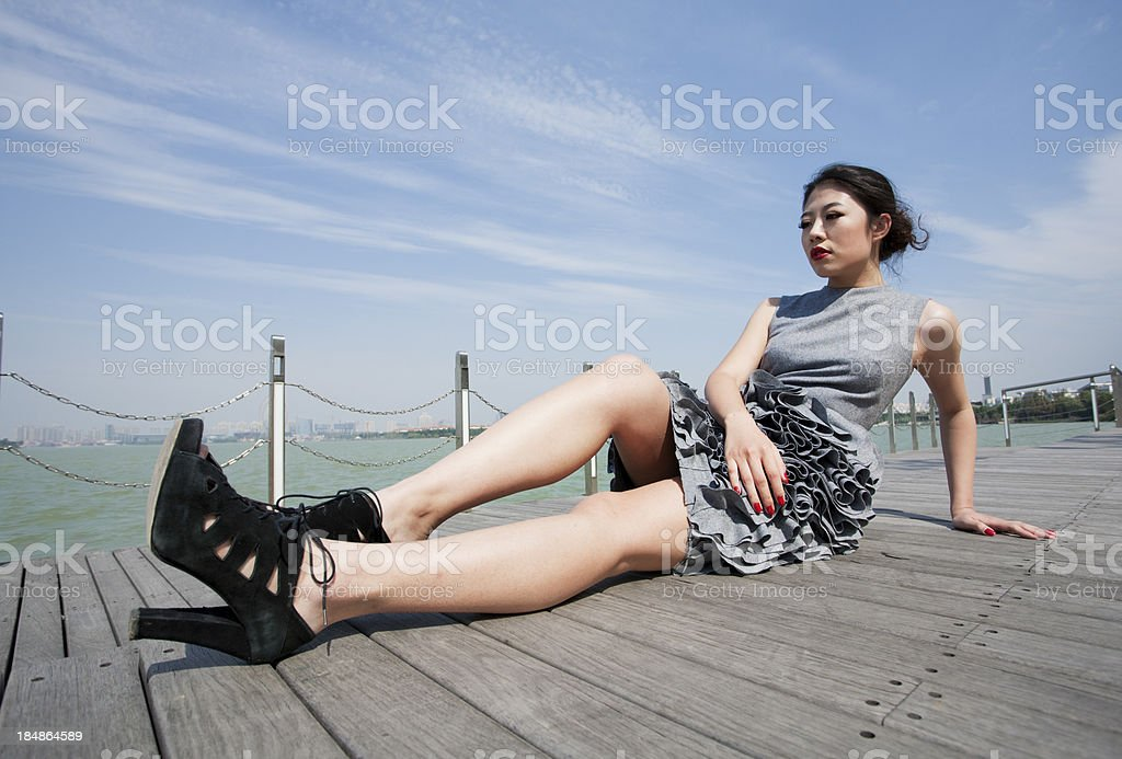 Fashion model by the lake royalty-free stock photo