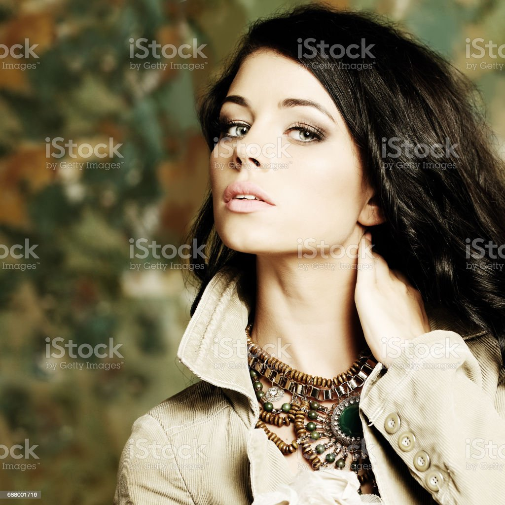 Fashion model girl portrait with long hair stock photo