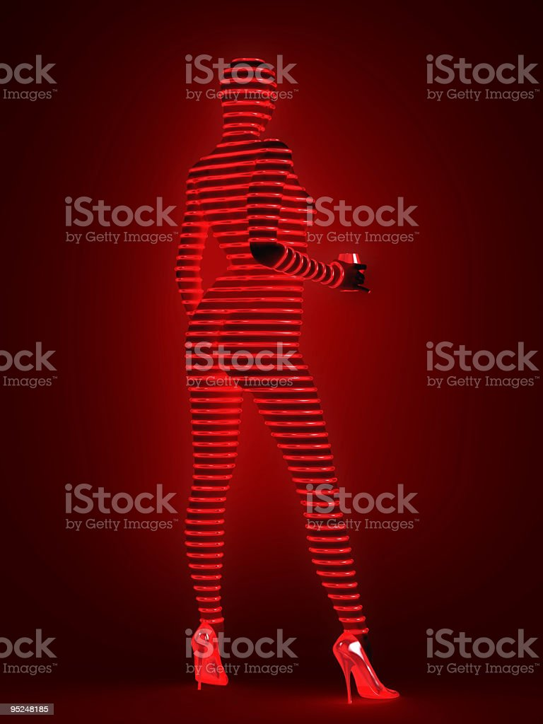 Fashion model in cyber suit royalty-free stock photo