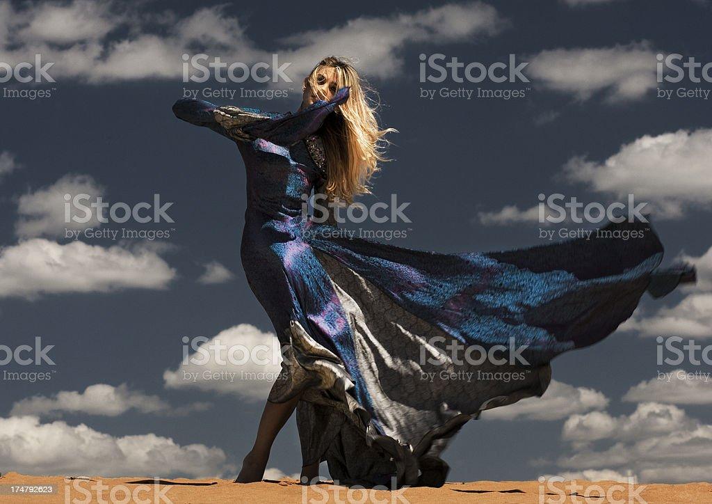 fashion model in desert royalty-free stock photo