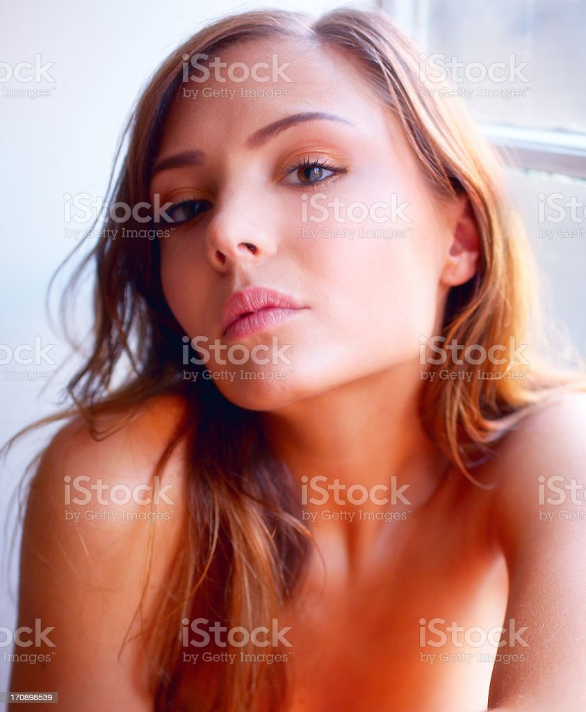 Fashion model in her natural state stock photo