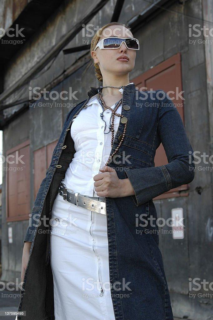 Fashion Model in Jean Jacket royalty-free stock photo