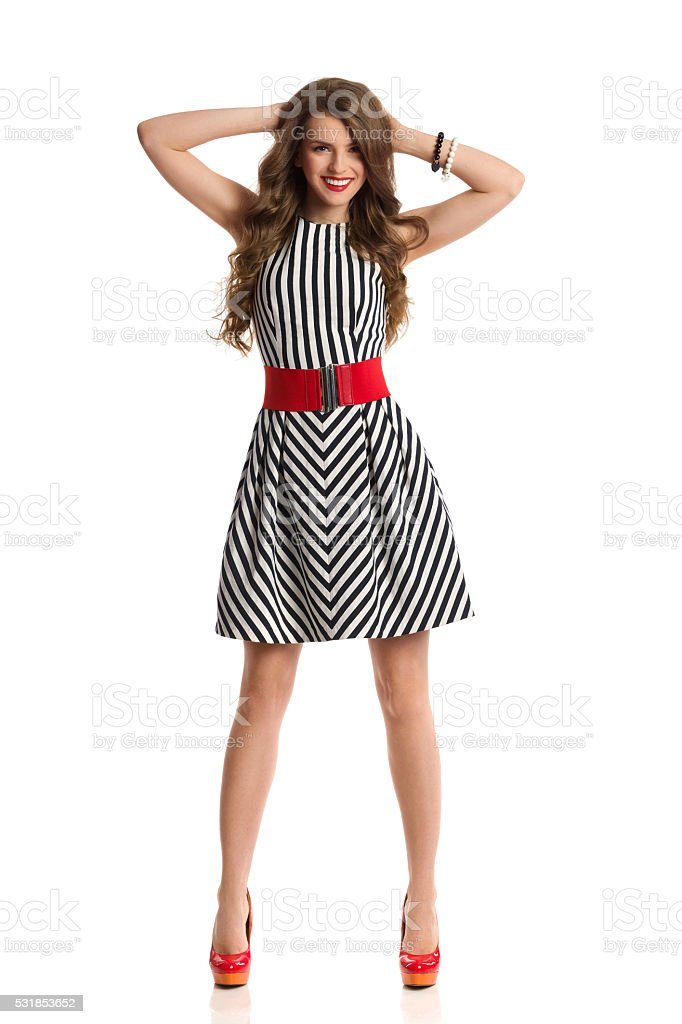 Fashion Model In Striped Dress stock photo