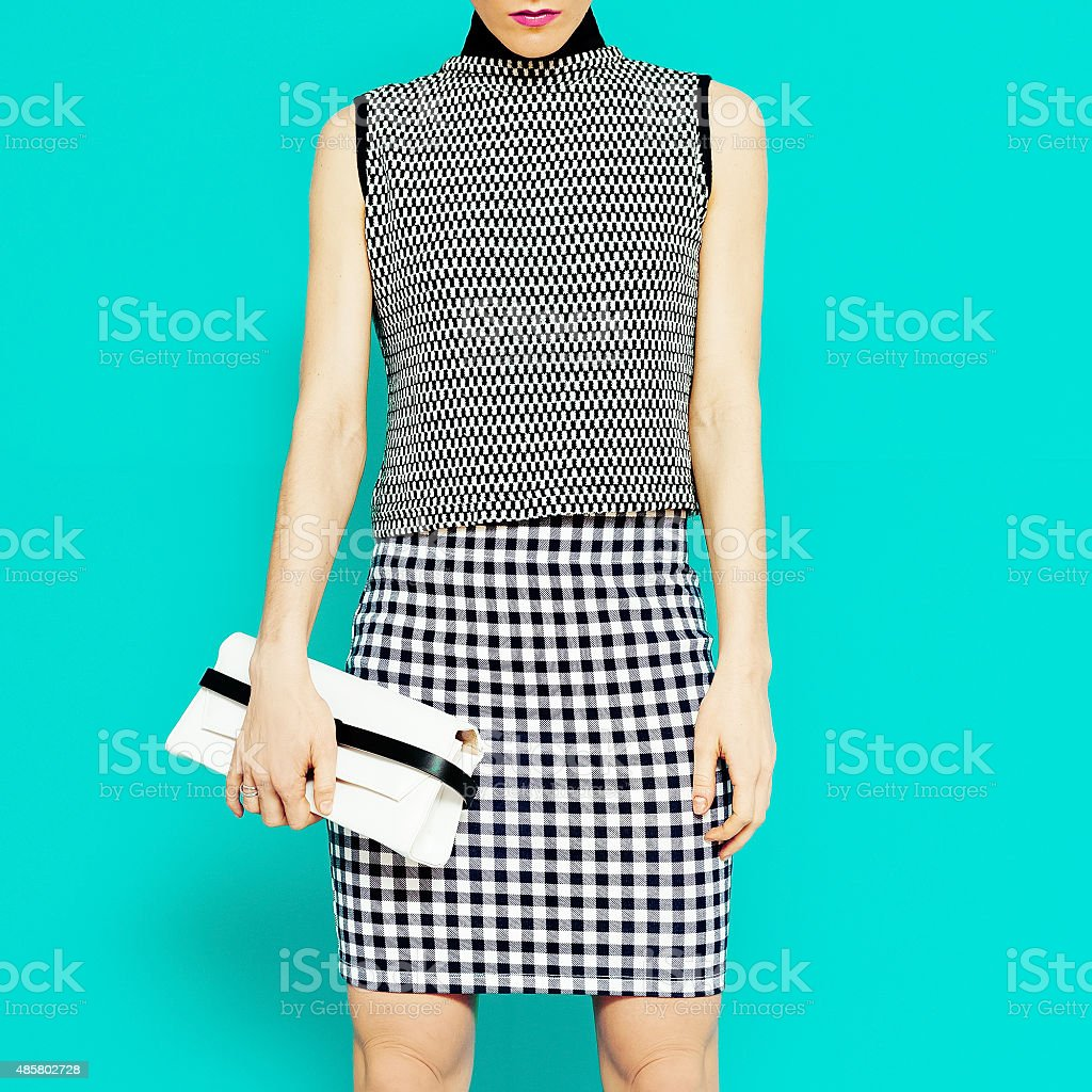 Fashion model in stylish clothes Geometric combination of trend stock photo
