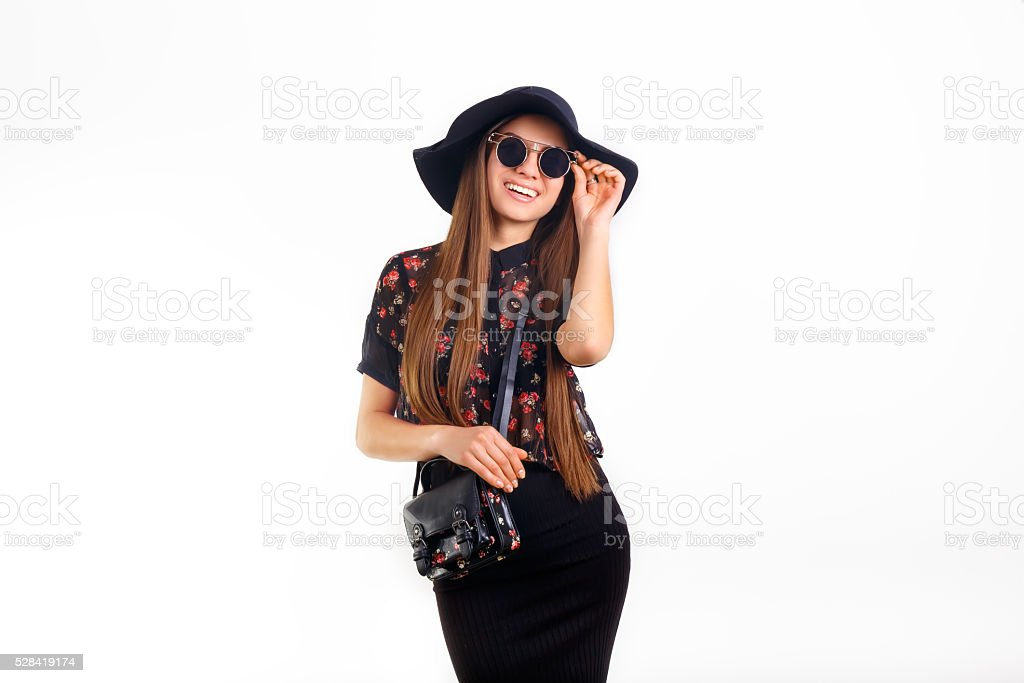 fashion model in sunglasses and hat stock photo
