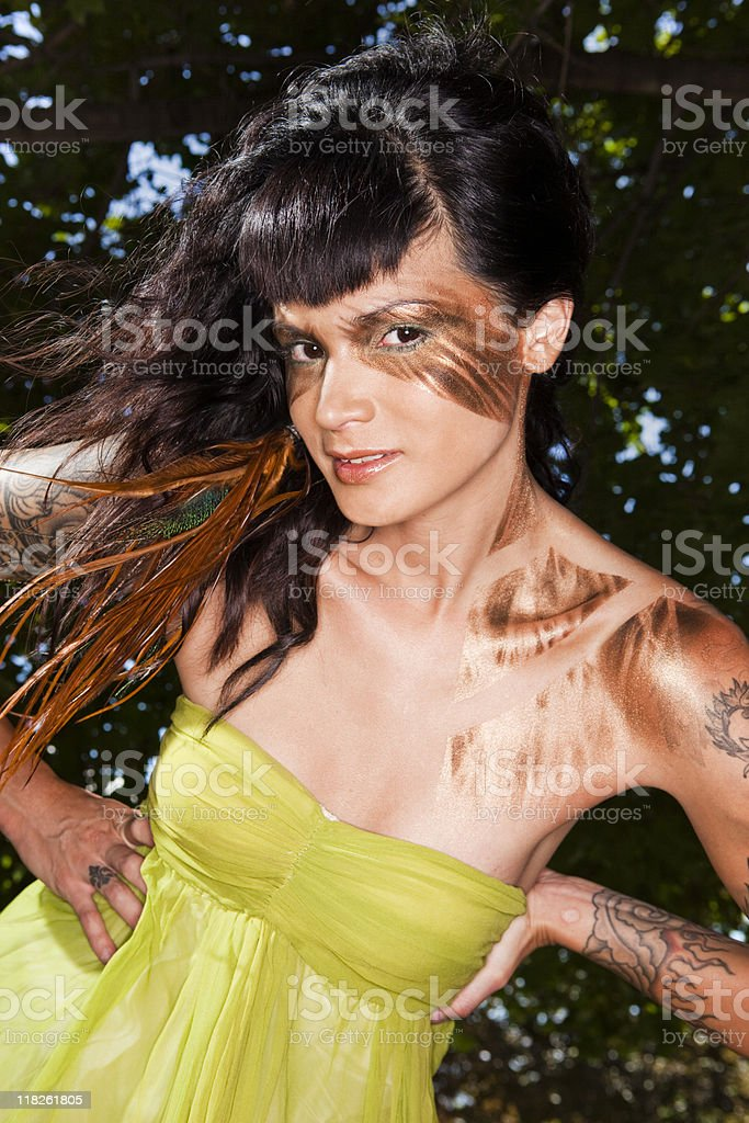 Fashion Model in the Trees stock photo
