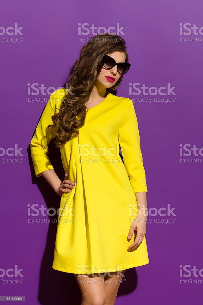 Fashion Model On A Purple Background stock photo