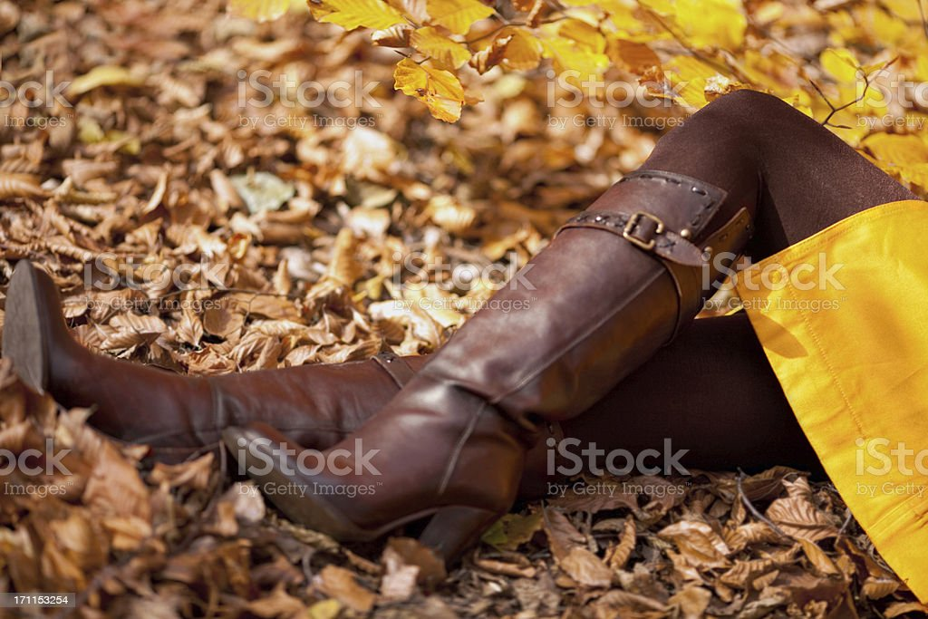 Fashion Model On  Colorful Autumn Leaves stock photo