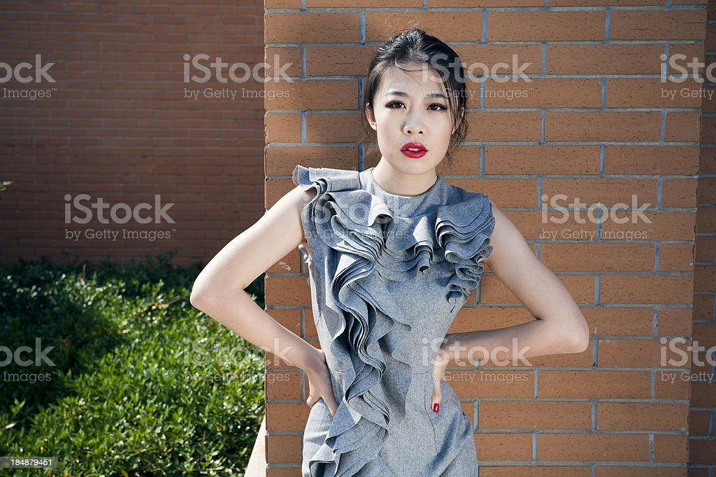 Fashion model outdoors royalty-free stock photo