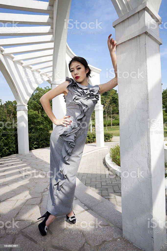 Fashion model outdoors royalty-free stock photo