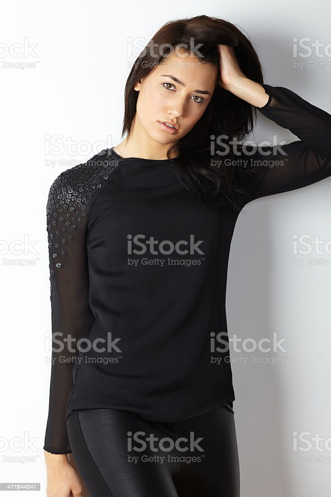 Fashion model portrait hand in hair royalty-free stock photo