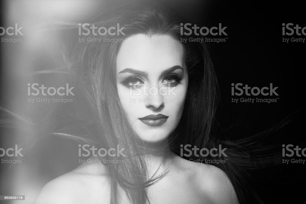 fashion model portrait in studio stock photo