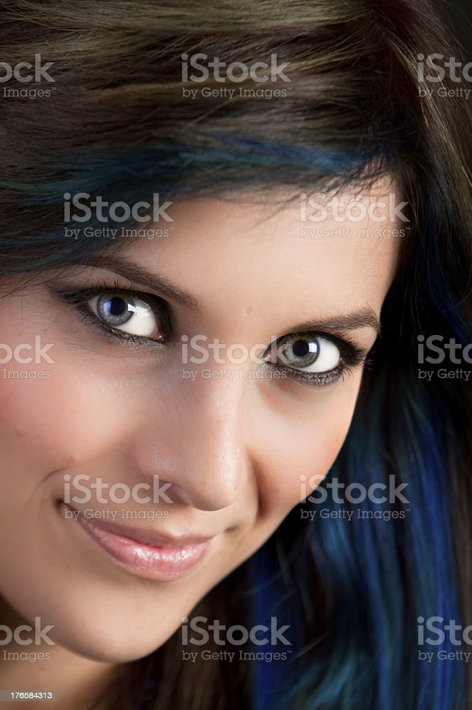 Fashion Model Portrait with Blue hair royalty-free stock photo