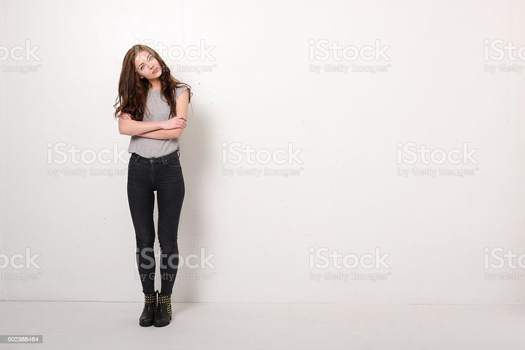 Fashion Model Poses With Copy Space stock photo