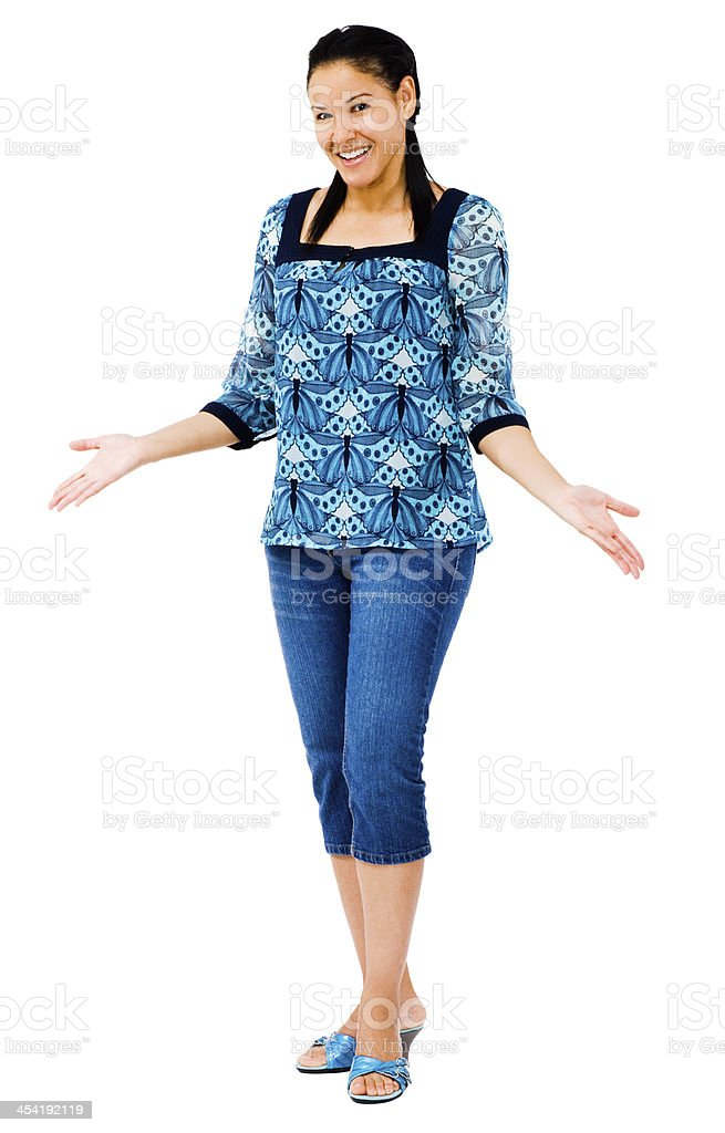Fashion model posing and smiling isolated over white stock photo